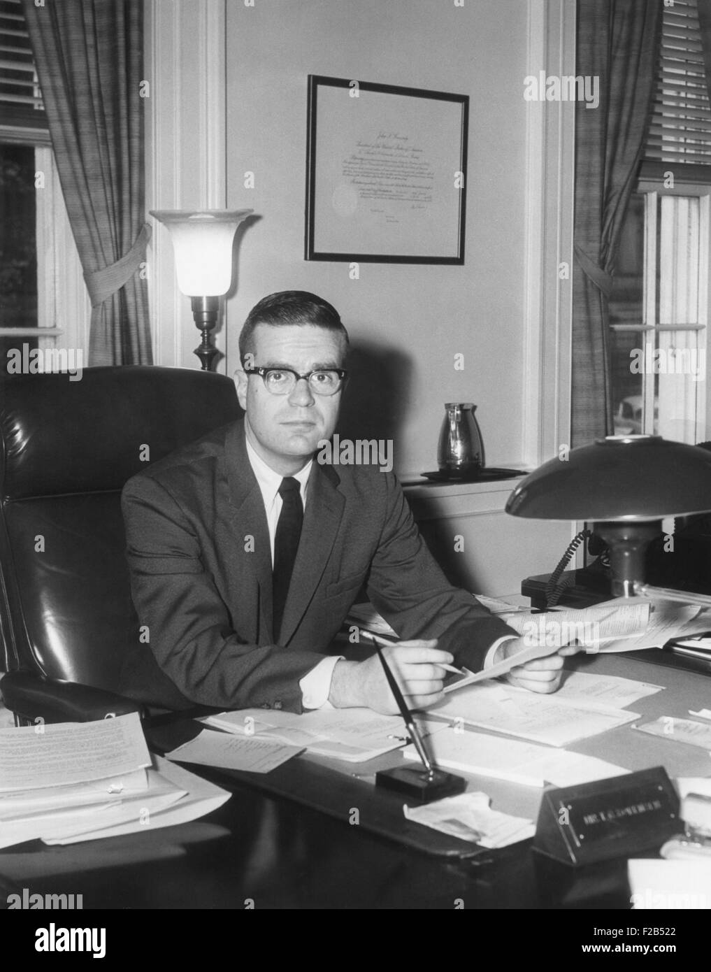Theodore Sorensen, Special Counsel and speech writer to JFK in his White House office. He was one of the 'intellectuals' - Stock Image