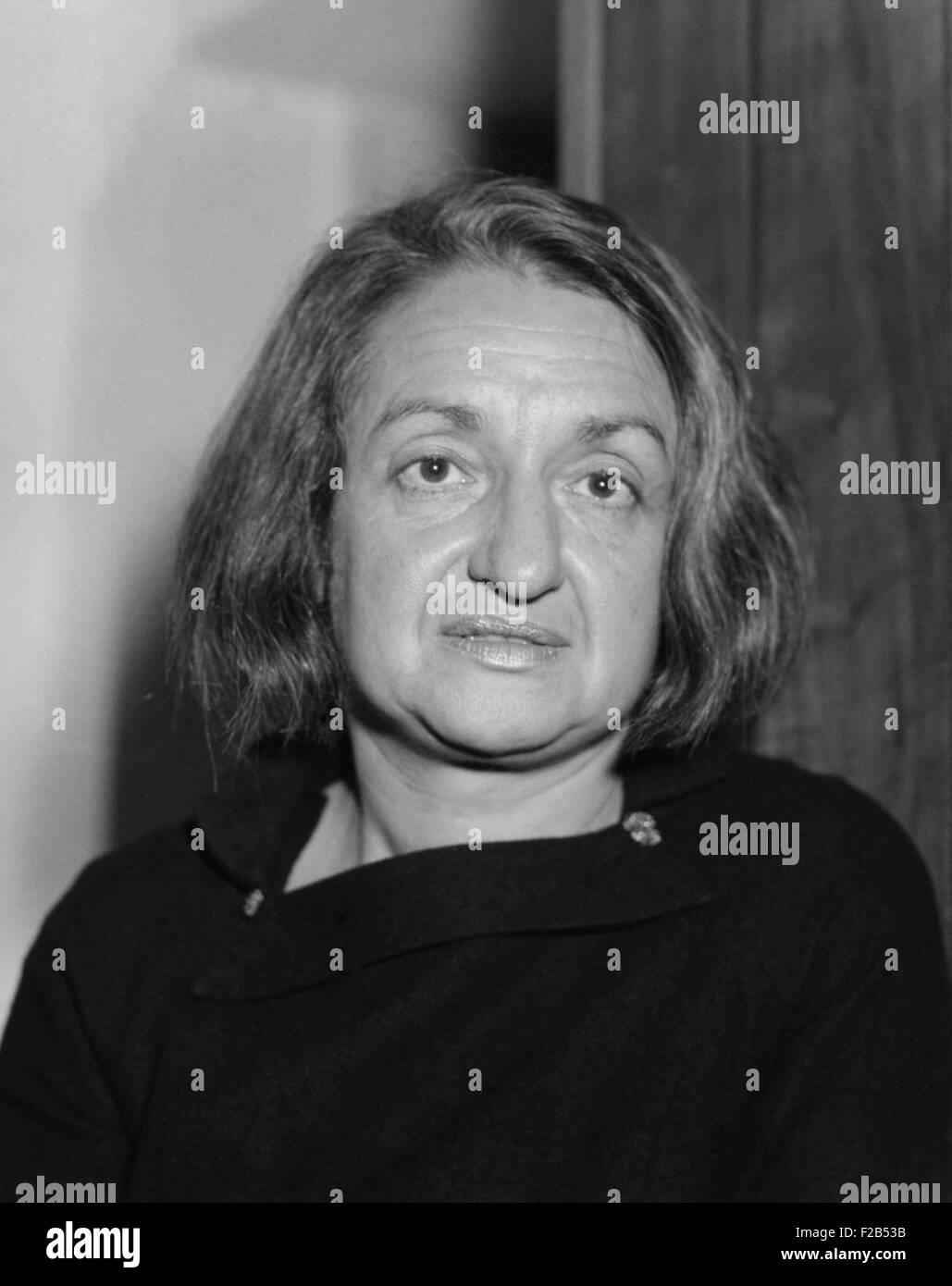 Betty Goldstein Friedan, author of 'The Feminine Mystique', 1963. The book examined the lives of affluent - Stock Image