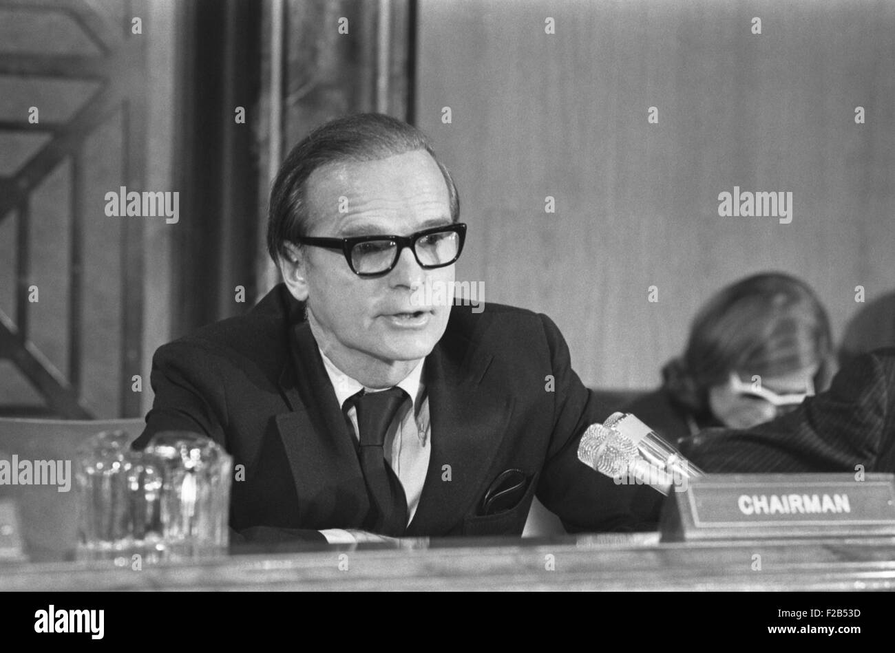 Alan Greenspan testifying before a joint House-Senate Economic Committee, Jan. 6, 1975. Greenspan was then Chairman - Stock Image