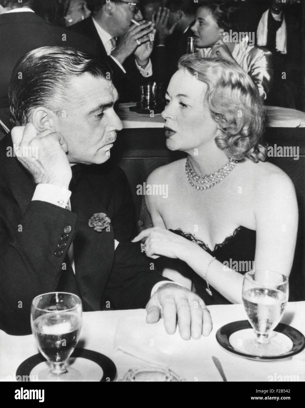 Clark Gable and Sylvia Ashley Alderly in a Los Angeles Night Club before their marriage. They wed shortly after - Stock Image