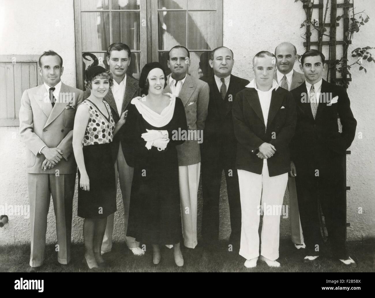 Movie stars and executives of United Artist Corporation. Ca. Nov. 10, 1930. L-R: Al Jolson, Mary Pickford, Ronald - Stock Image