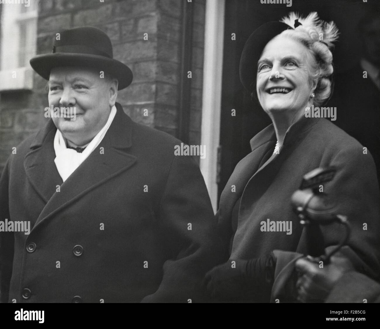 Wartime Premier, Winston Churchill, with his wife Clementine on his 75rd Birthday. The leader of the Conservative - Stock Image