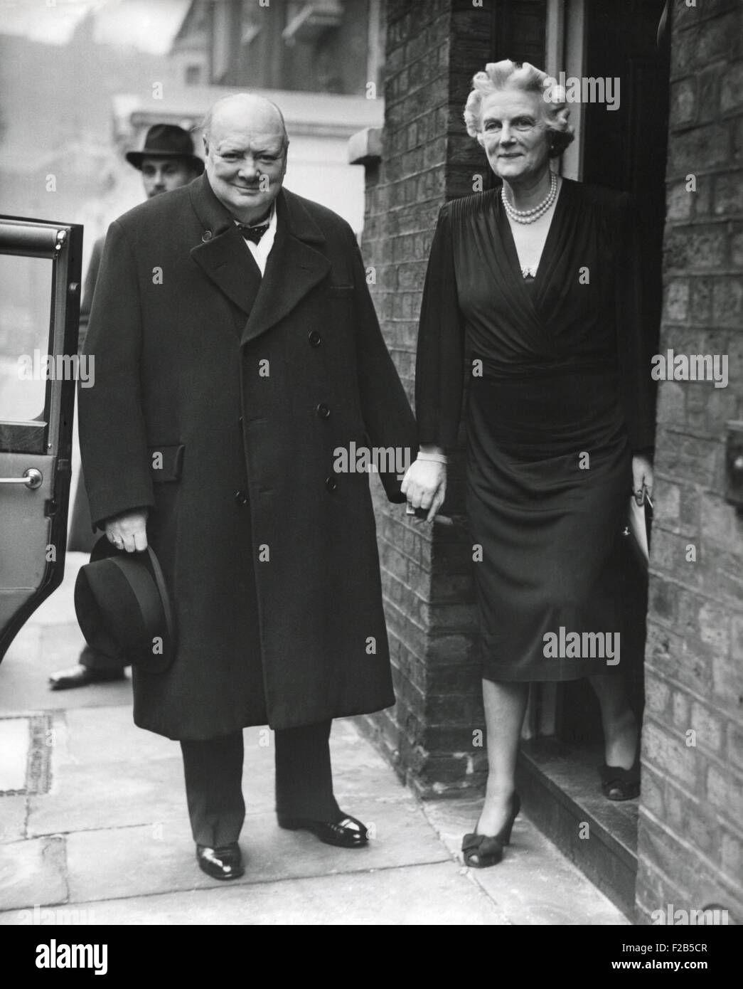 Wartime Prime Minister, Winston Churchill, with his wife Clementine on his 73rd Birthday. The leader of the Conservative - Stock Image