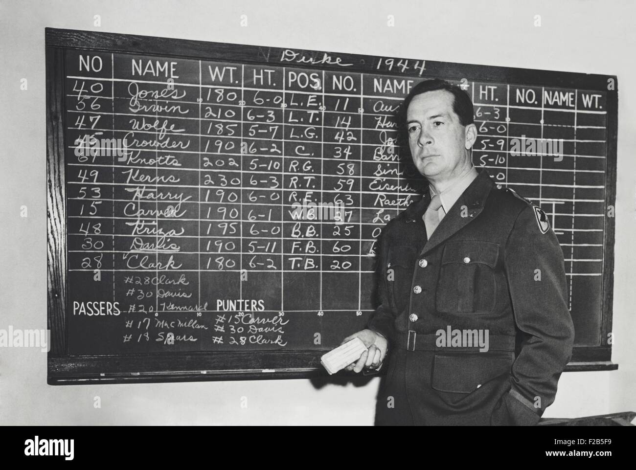 Earl (Red) Blaik was football coach at the United States Military Academy from 1941 to 1958. The blackboard data - Stock Image