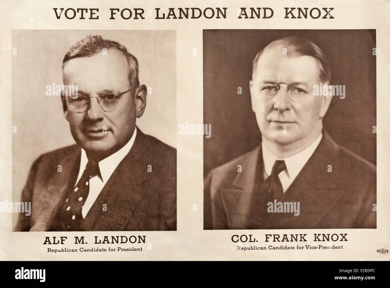 1936 Republican Campaign Poster for Alf Landon and Frank Knox. Governor Alfred Landon of Tennessee headed the ticket; - Stock Image