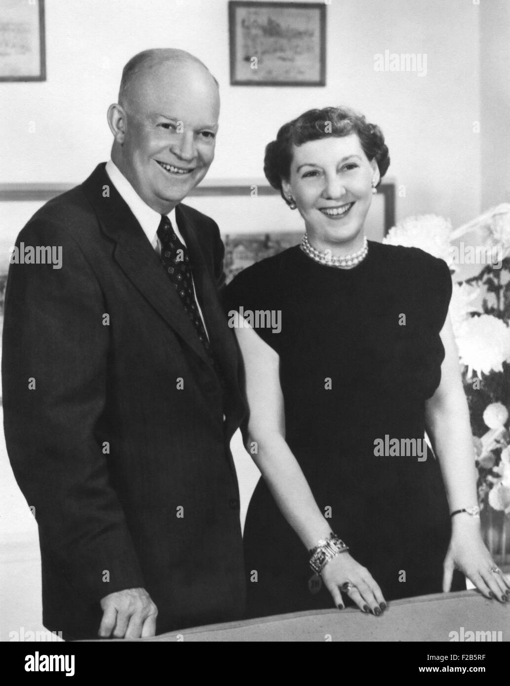 President Dwight Eisenhower and wife Mamie, 1953 - (BSLOC_2014_16_79) - Stock Image
