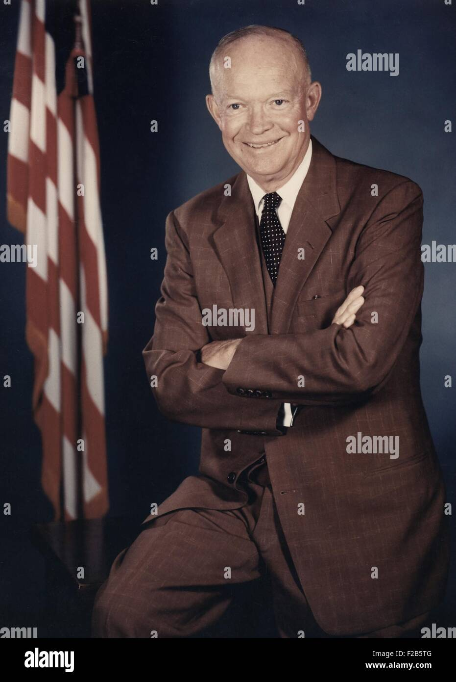 President Dwight Eisenhower. 1956 color portrait. - (BSLOC 2014 16 53) Stock Photo