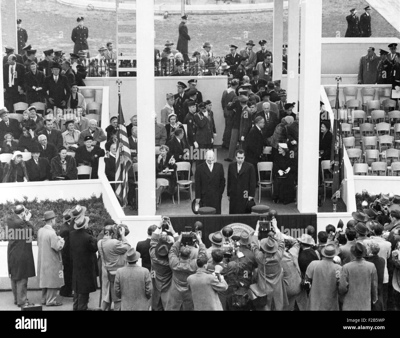 President Eisenhower and VP Nixon together on the White House Inaugural parade pavilion. Jan. 20, 1953. - (BSLOC - Stock Image