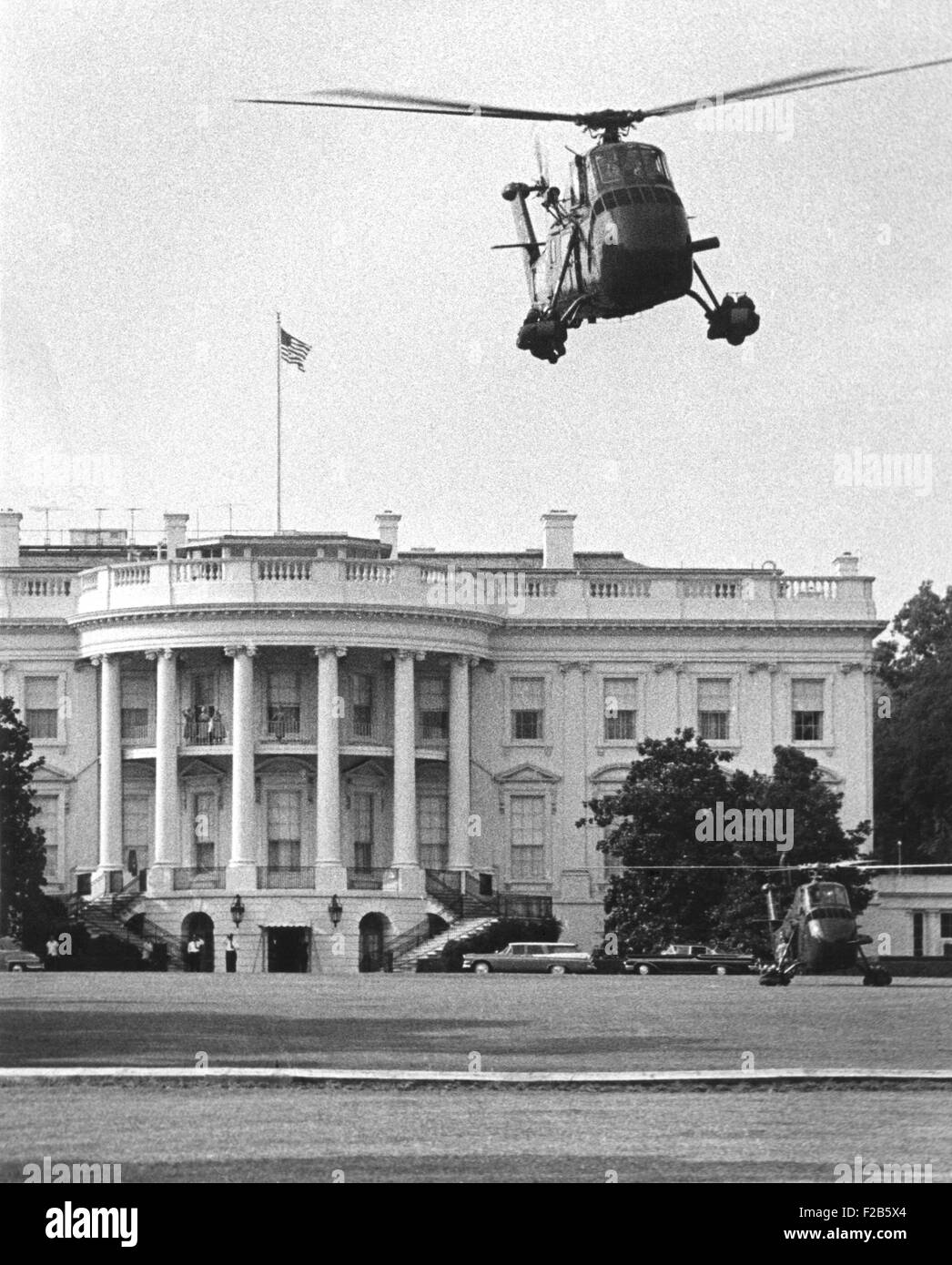 Presidential helicopters at the White House. July 3, 1958. Eisenhower suggested and the Secret Service approved - Stock Image