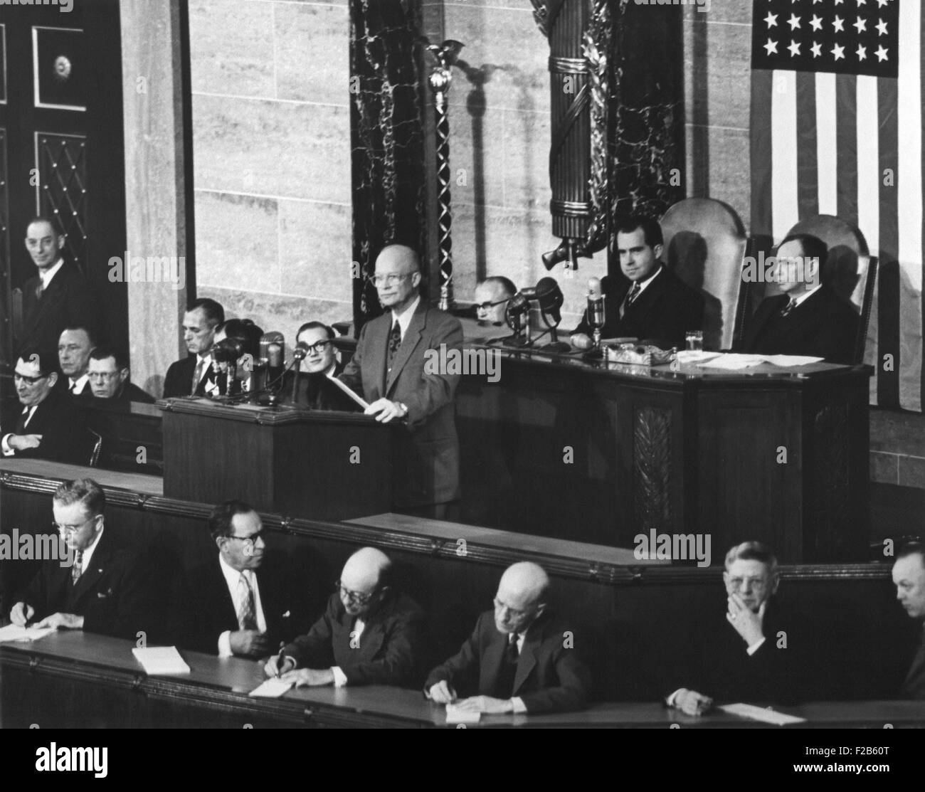 President Dwight Eisenhower delivering his 1954 State of the Union address to Congress. Jan. 7, 1954. VP Nixon and - Stock Image