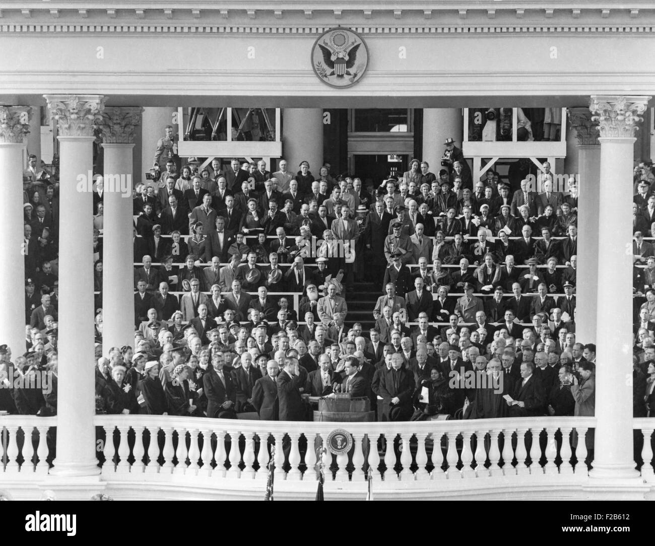 Richard Nixon sworn in as Vice President. Jan. 20, 1953. Senator William Knowland of California administered the Stock Photo