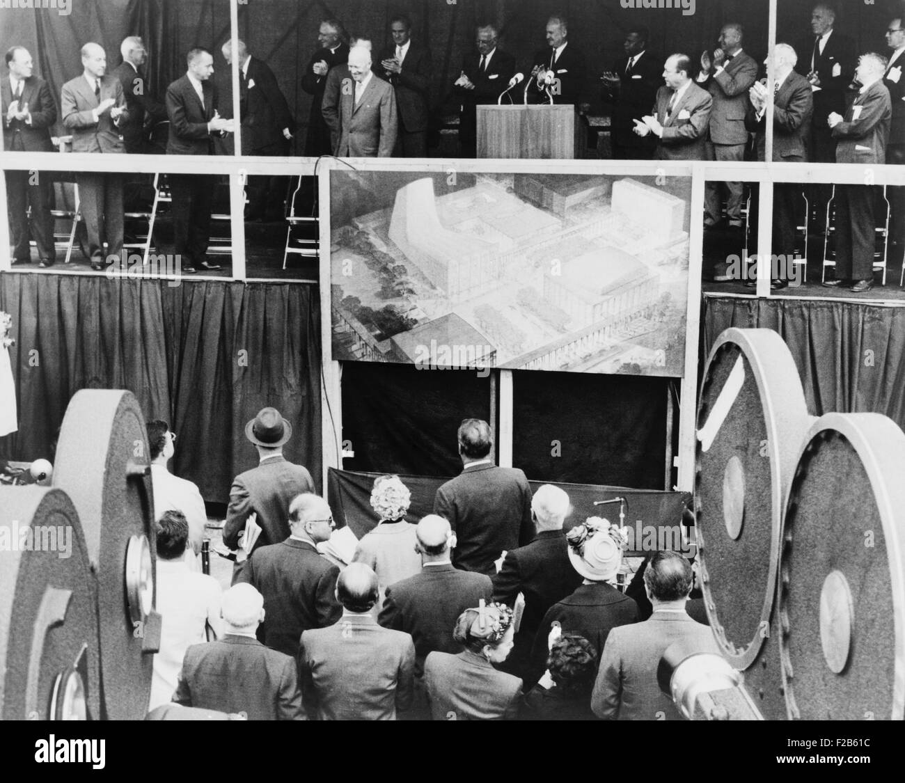 President Eisenhower at ground breaking ceremonies at Lincoln Center performing-arts complex. May 14, 1959. It was - Stock Image