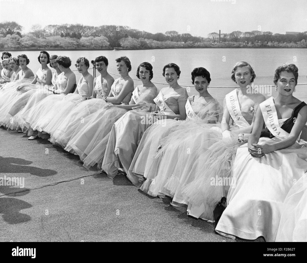 Cherry Blossom Festival Princesses wearing the ball gowns and their state sashes. April 2, 1955. They are young - Stock Image