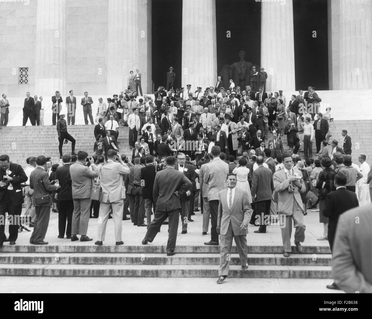Premier Nikita Khrushchev surrounded by reporters on the steps of the Lincoln Memorial. Sept. 16, 1959. - (BSLOC - Stock Image