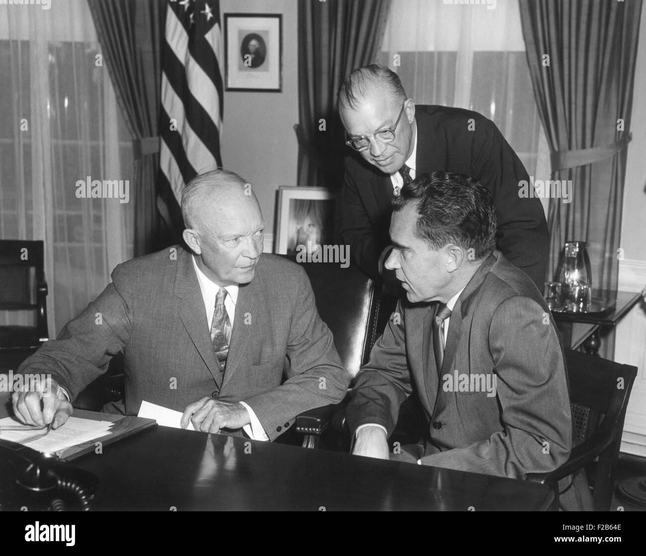 President Eisenhower meeting with Richard Nixon and Milton Eisenhower on their return from the USSR. On this trip - Stock Image