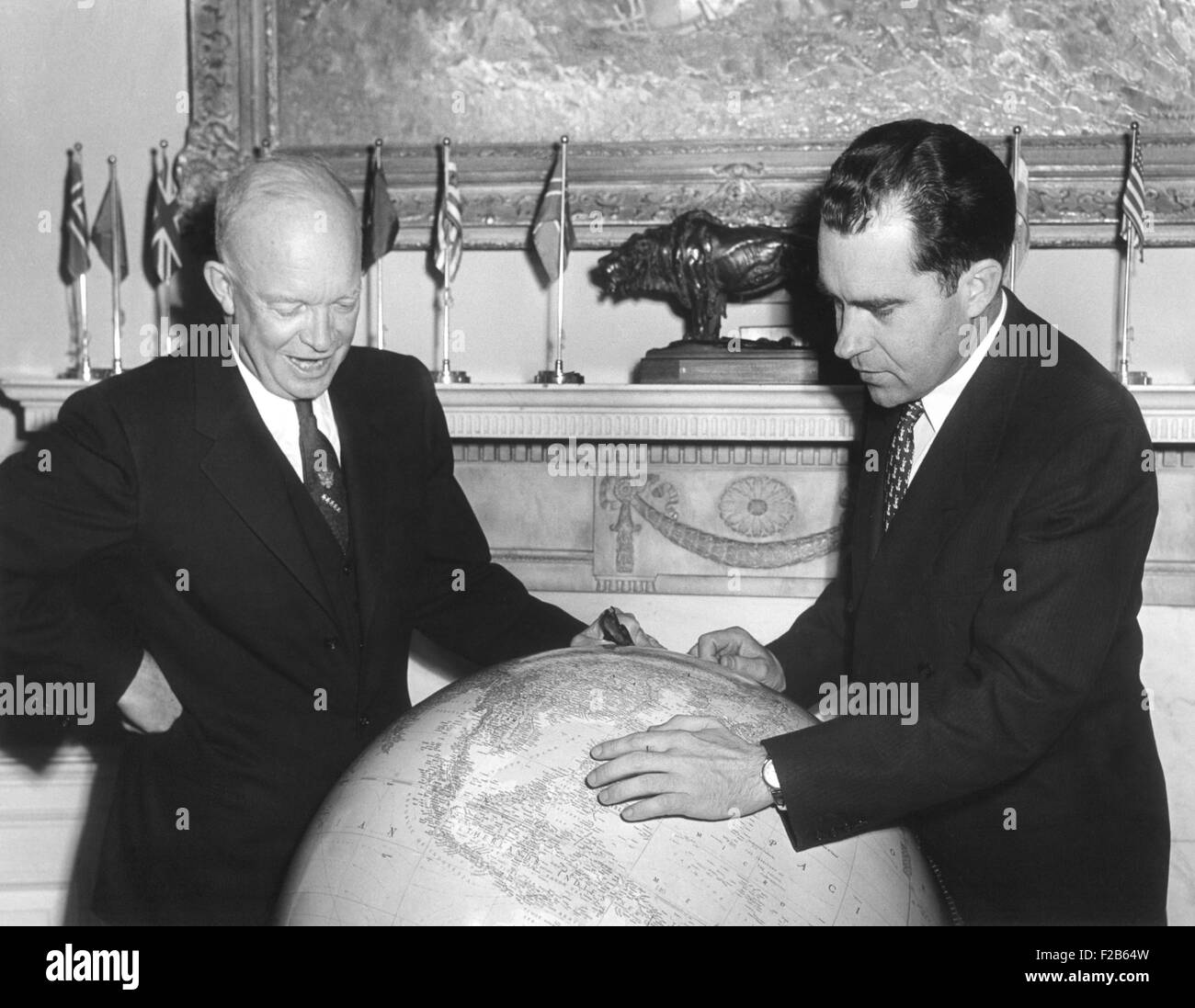 Vice President Richard Nixon discusses his Far East trip with President Eisenhower. Nov. 3, 1953. Eisenhower elevated - Stock Image