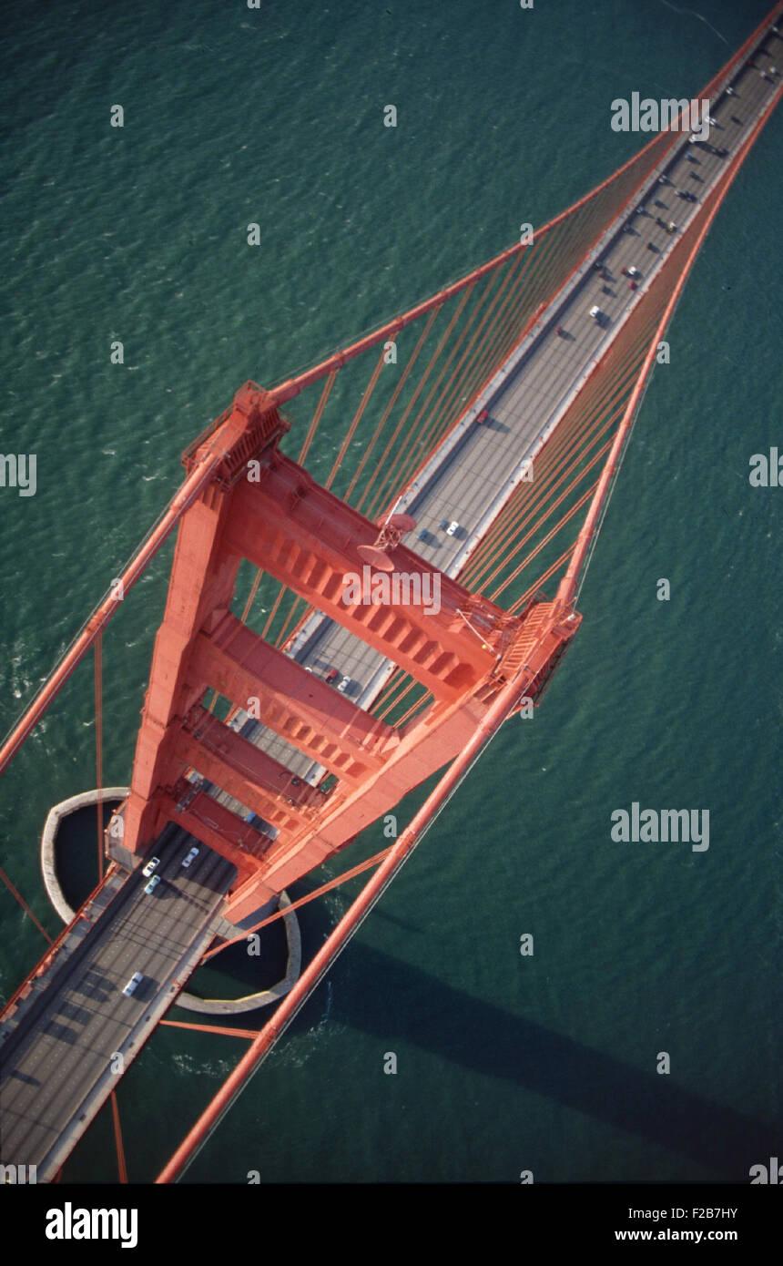 Golden Gate Bridge wide aerial shot - Stock Image