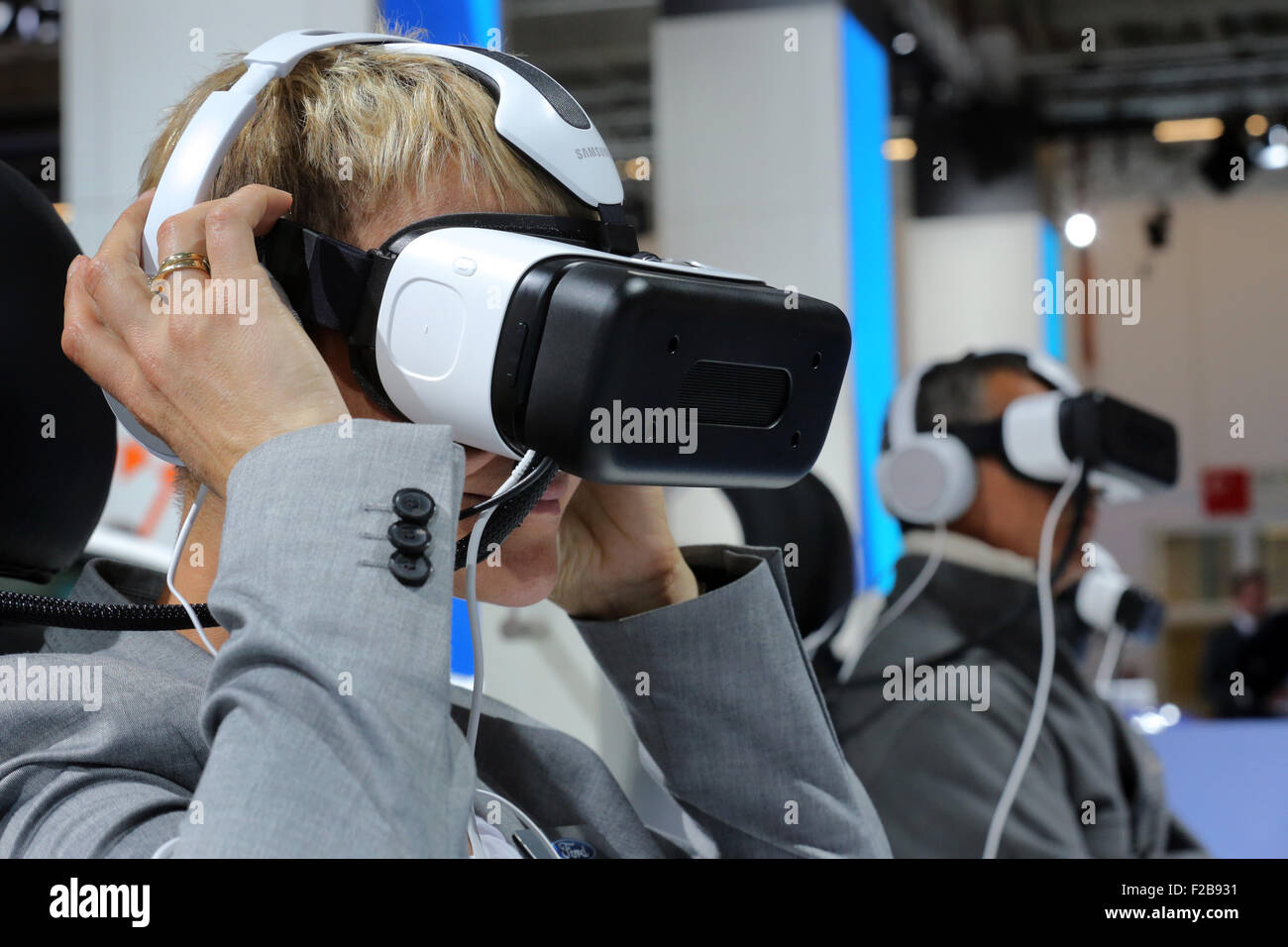Frankfurt/M, 15.09.2015 - Visitors take a virtual test drive with masks at the Ford stand at the 66th International Motor Show IAA 2015 (Internationale Automobil Ausstellung, IAA) in Frankfurt/Main, Germany Stock Photo