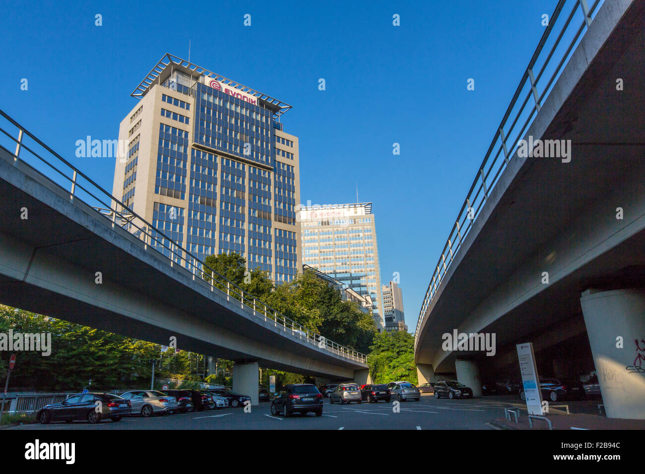 City skyline of Essen, Germany, A40 Autobahn, motorway, company headquarter of EVONIK industries and RWE Power company, - Stock Image