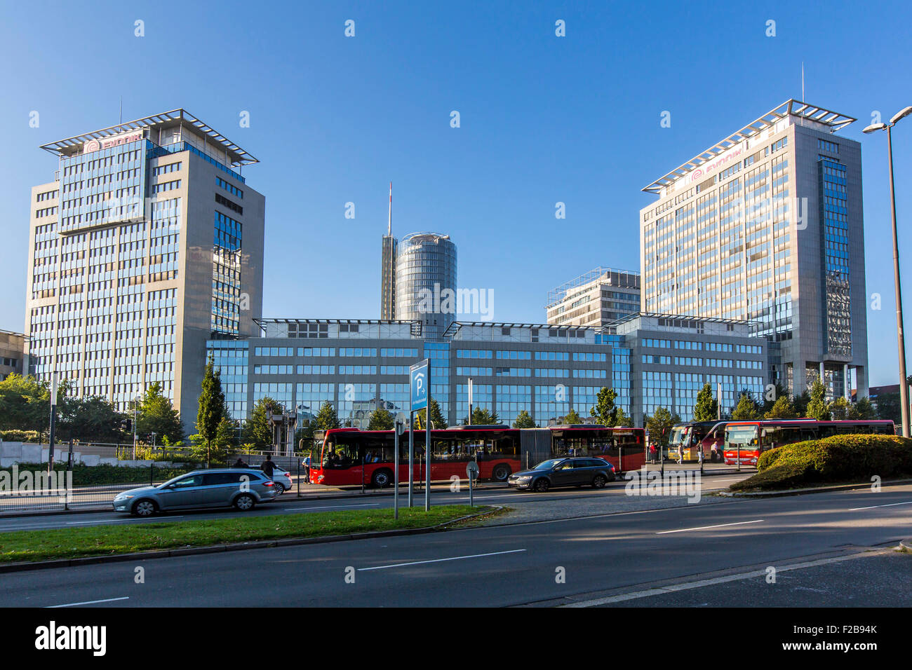 Skyline, skyscrapers, company headquarter of EVONIK industries and power company RWE, - Stock Image