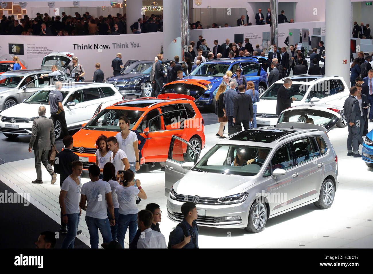 New VW Volkswagen cars at the 66th International Motor Show IAA 2015 (Internationale Automobil Ausstellung, IAA) - Stock Image