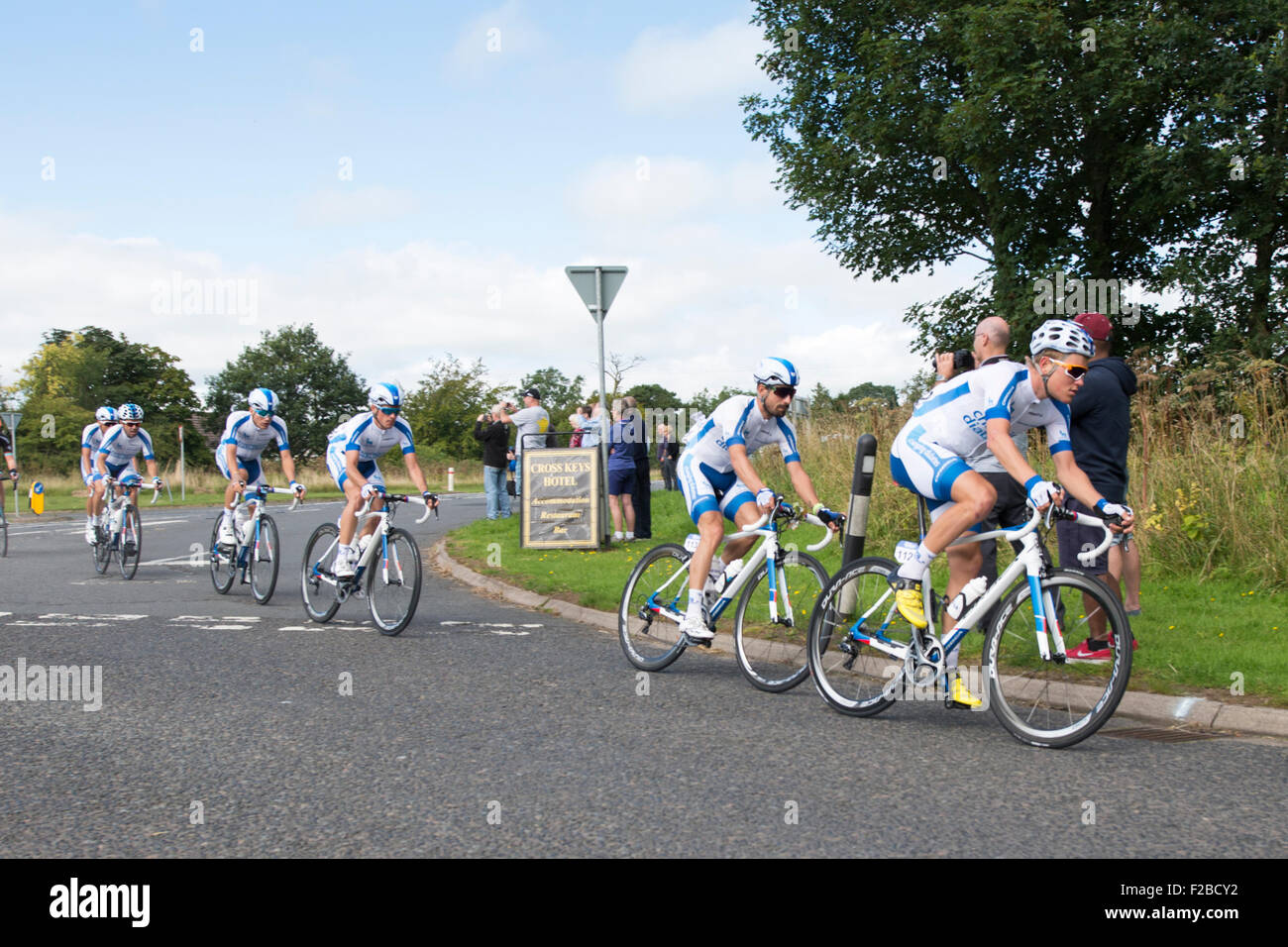 Cyclists from Team Novo Nordisk compete in stage 3 of the Aviva Tour of Britain between Cockermouth & Kelso, - Stock Image