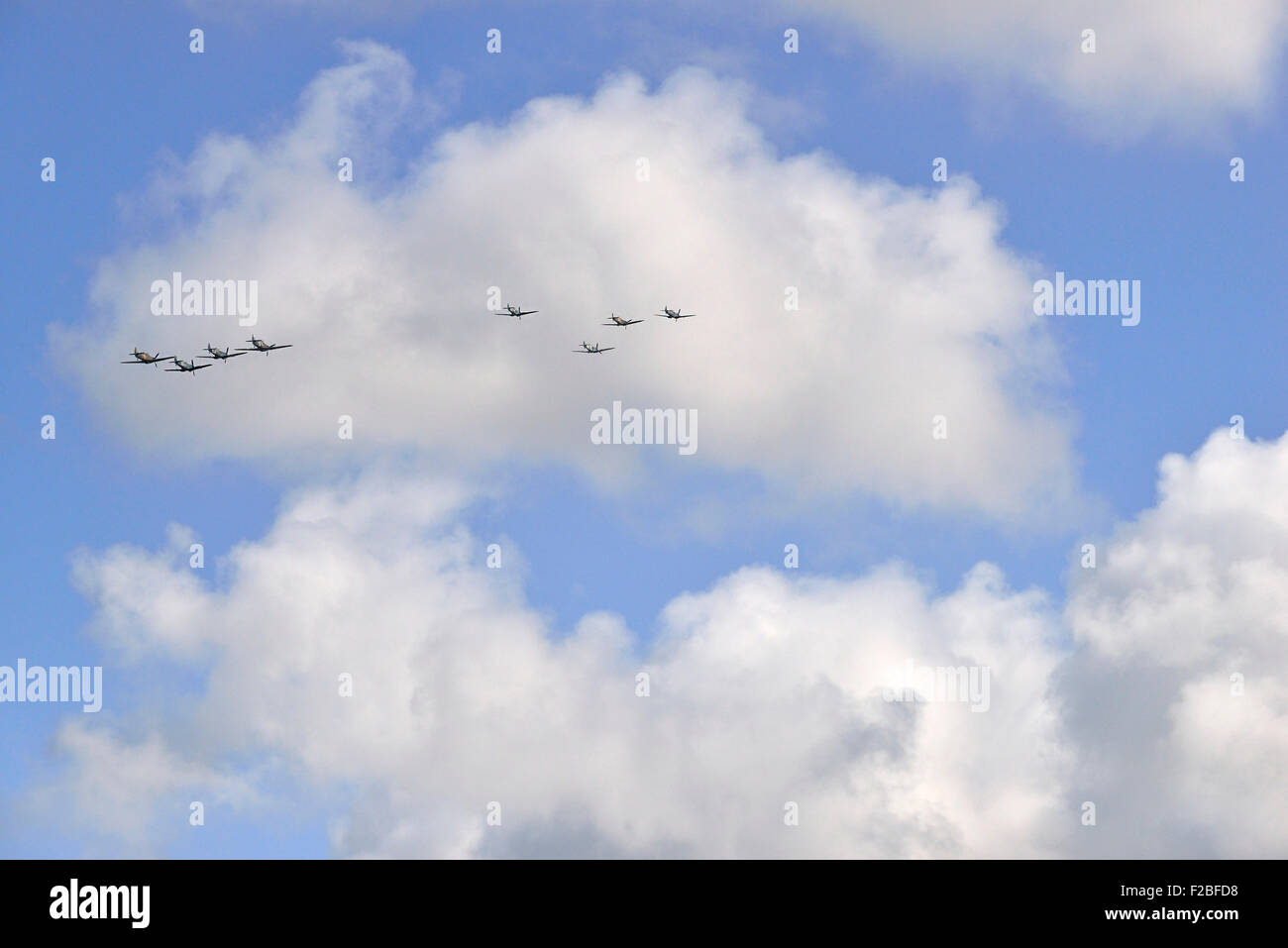 . 75th Anniversary Battle of Britain,  Amazing scenes in the sky above Goodwood Aerodrome today  A flypast involving - Stock Image