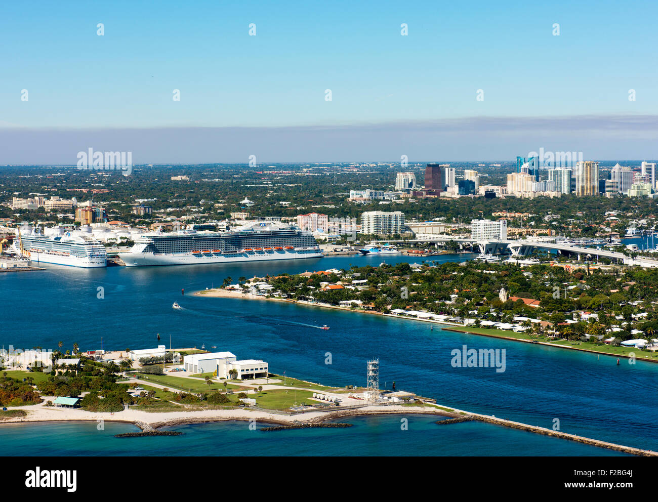 Cruise ships in Fort Lauderdale's harbor. Stock Photo