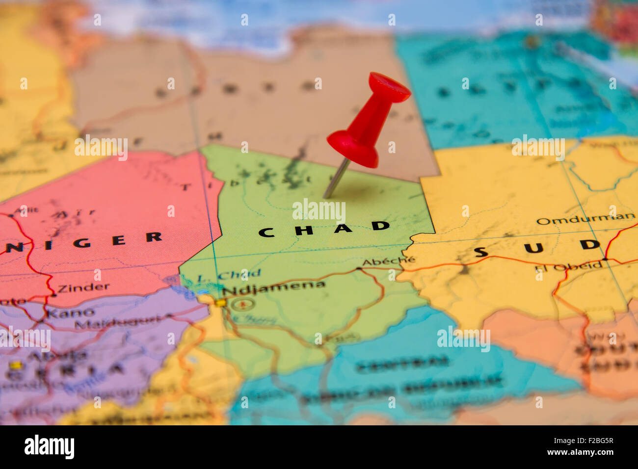 Map of Chad with a red pushpin stuck - Stock Image