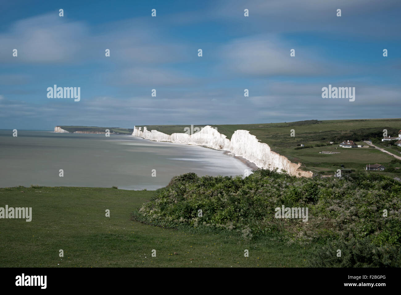 View towards The Seven Sisters Cliffs,  from  Birling Gap, South Downs National Park, East Sussex, England, Uk, Stock Photo