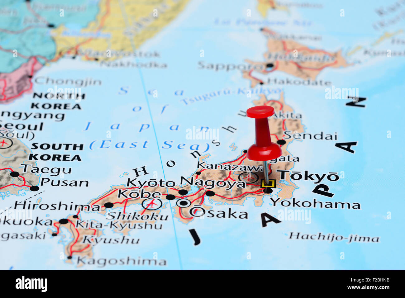 Tokyo On A Map Tokyo pinned on a map of Asia Stock Photo: 87536551   Alamy