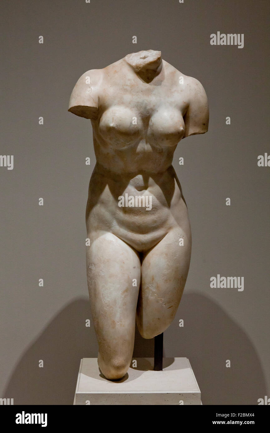 Torso of Aphrodite by Hellenistic or Roman sculptor, circa 200 B.C. - USA - Stock Image