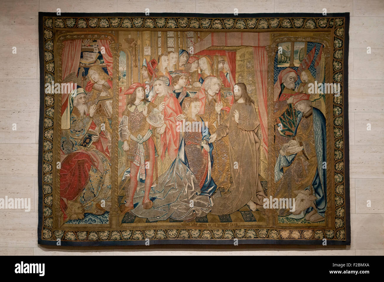 Christ and the Woman Taken in Adultery, Netherlandish, wool tapestry, circa 1500 - Stock Image