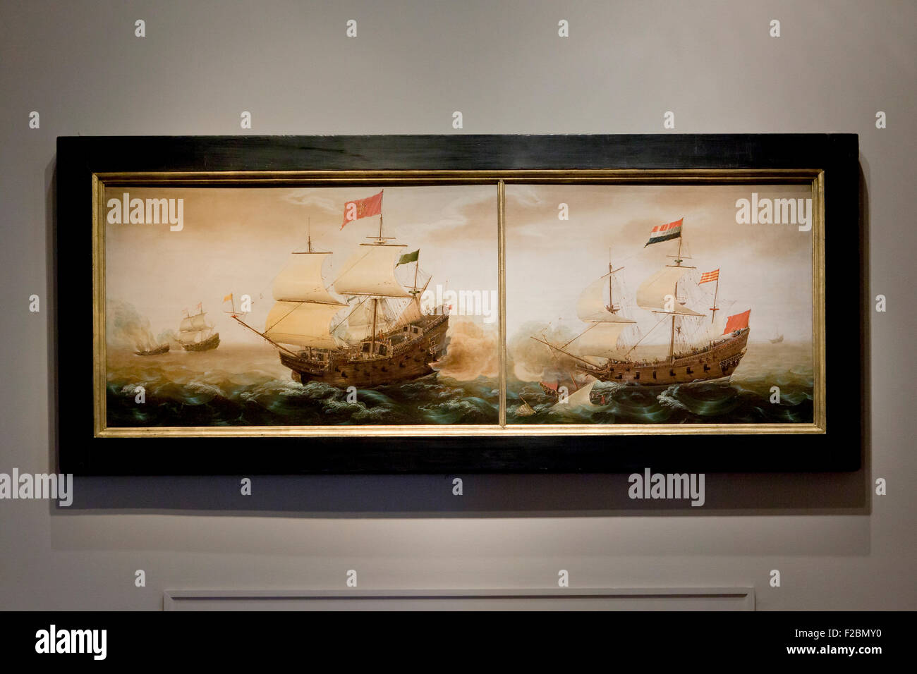 A Naval Encounter between Dutch and Spanish Warships by Cornelis Verbeeck, circa 1618 - Stock Image