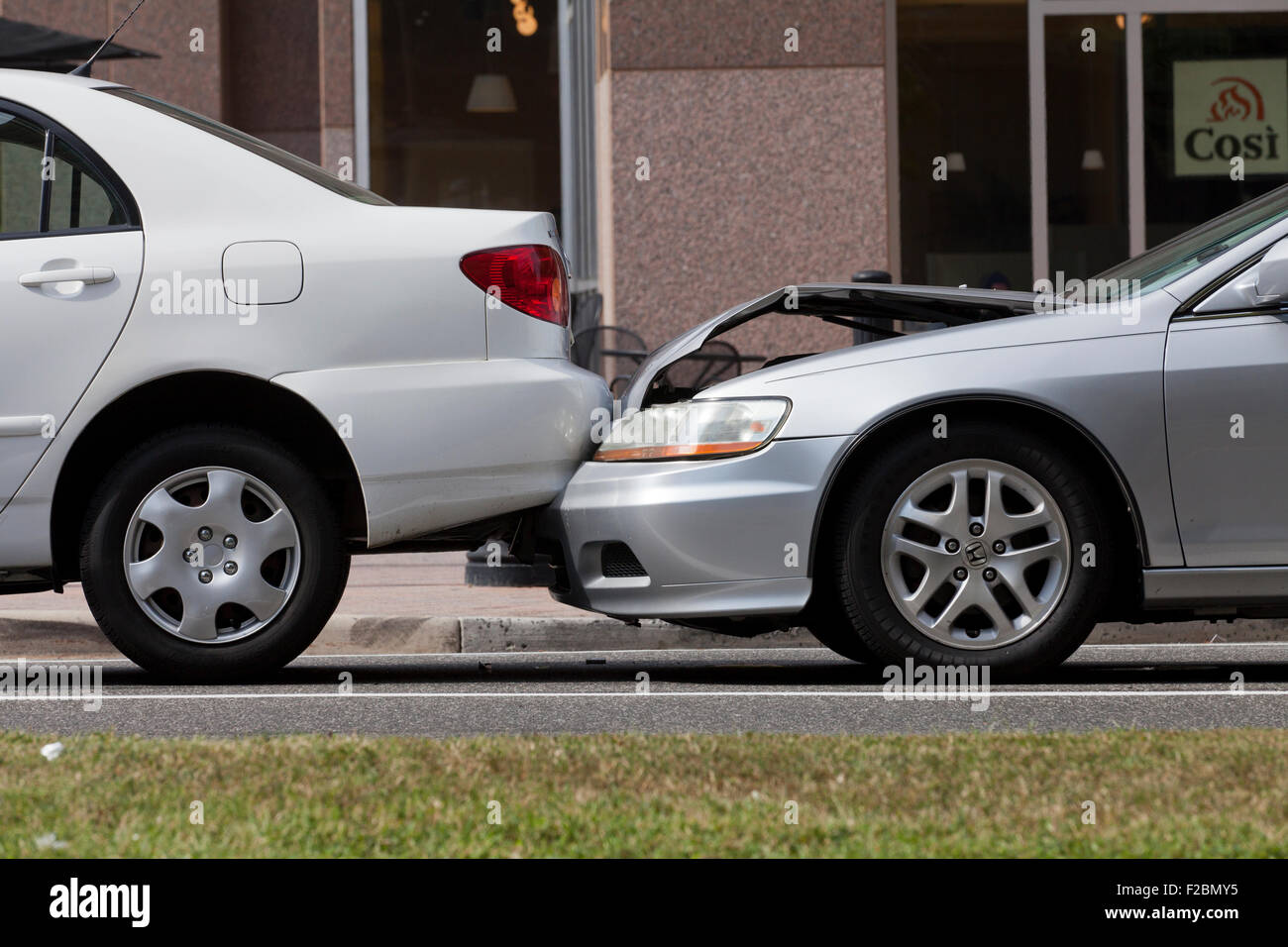 Low impact car accident - USA - Stock Image