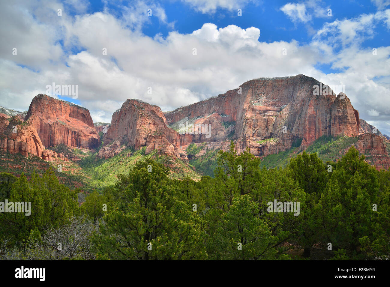 View from end of park road overlook in Kolob Canyon section of Zion National Park  in Southwestern Utah Stock Photo