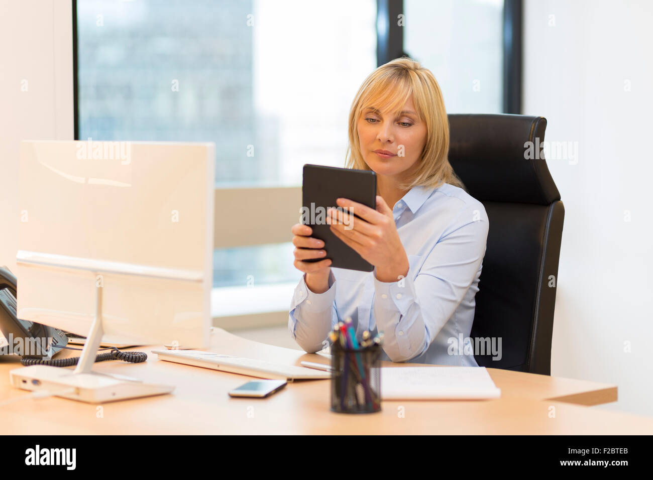 Middle aged business woman using tablet pc at office - Stock Image