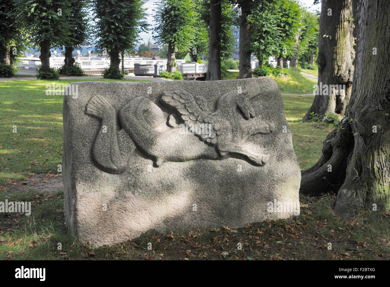Hamlet's Grave in Marienlyst Palace Garden, Elsinore.  A large granite stone shaped like a sarcophagus. Kronborg - Stock Image