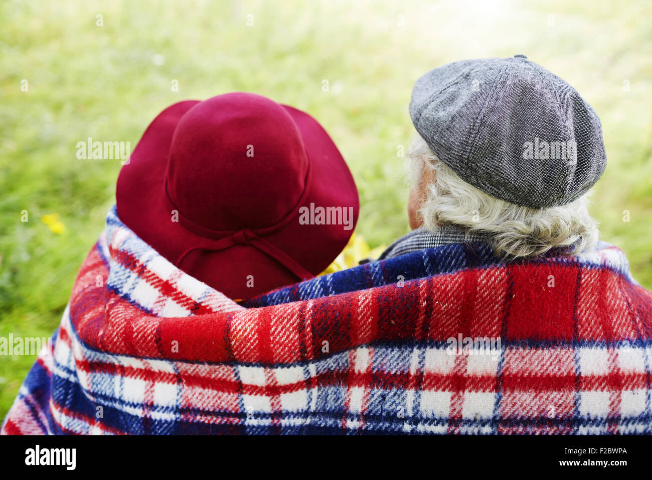Back view of affectionate seniors - Stock Image