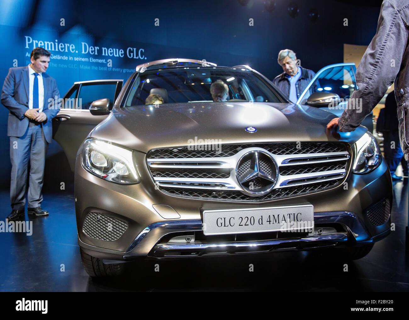 Mercedes-Benz GLC 220 d, International motorshow, IAA, Frankfurt, Auto Show, stand - Stock Image