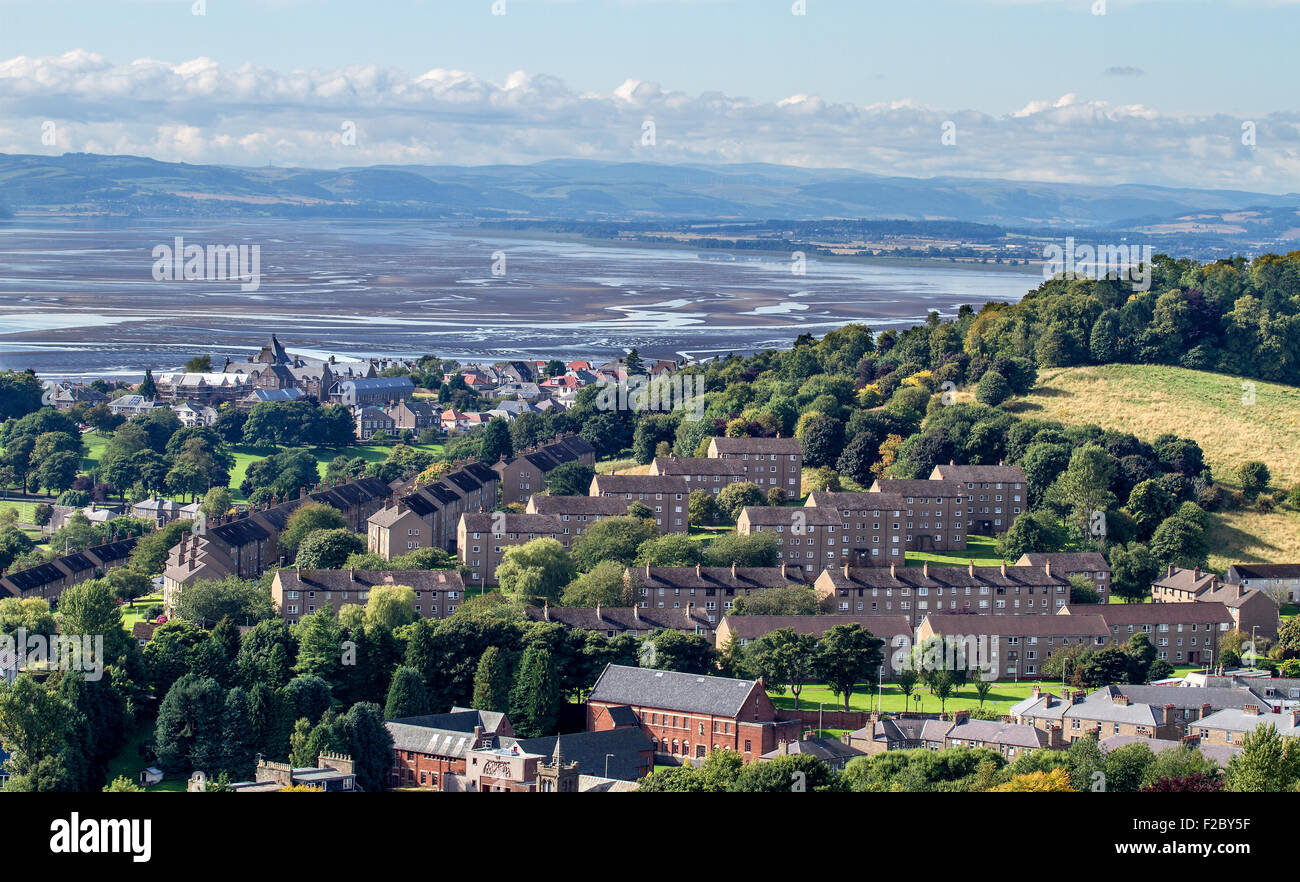 Landscape view of sand banks in the River Tay at low tide in Dundee, UK - Stock Image