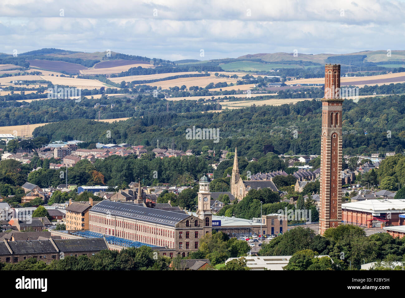 Landscape view of 'The Stack' retail leisure park and the 1800`s 'Cox`s Stack' Camperdown Works - Stock Image