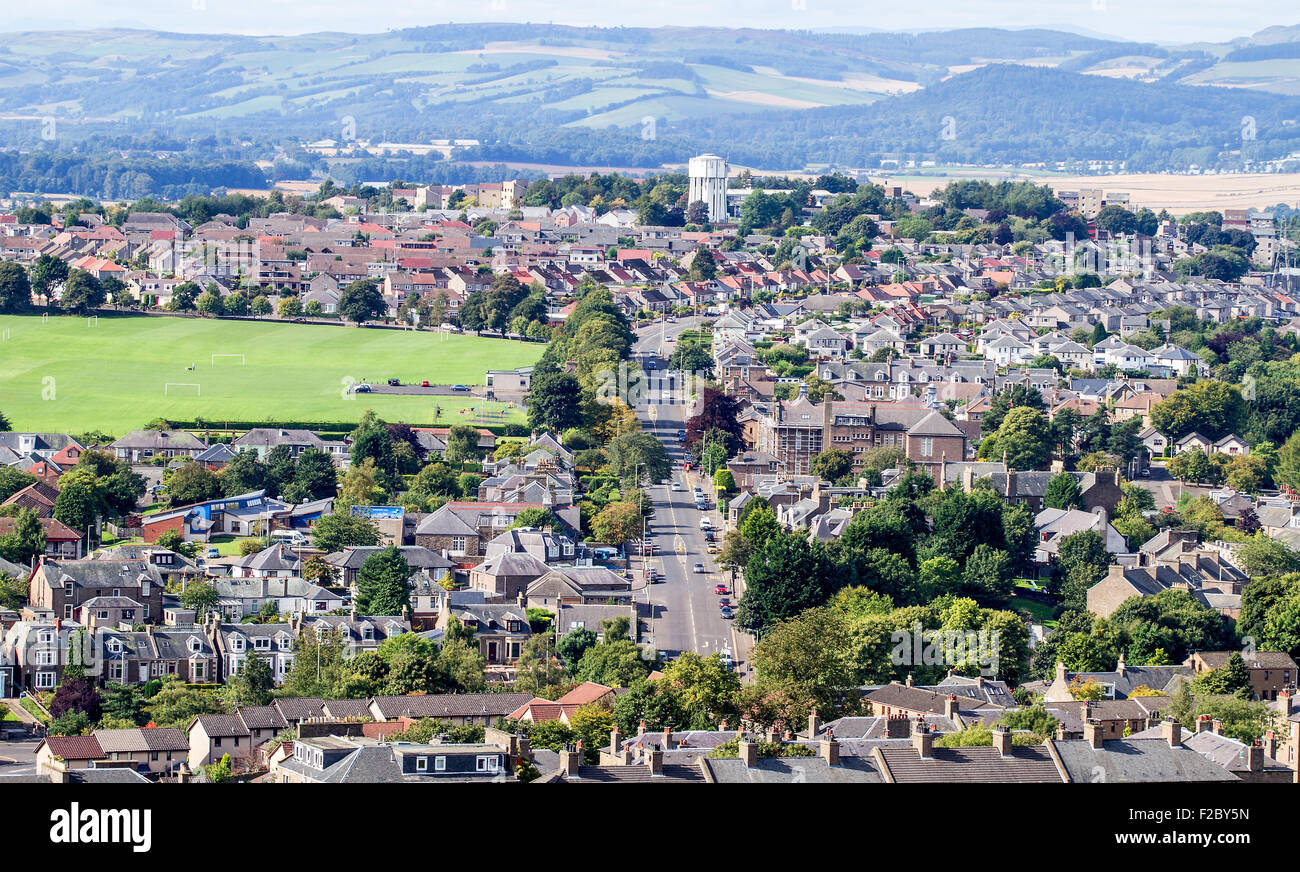 Landscape view of Lochee park and residential housing along the west end of Dundee city, UK - Stock Image
