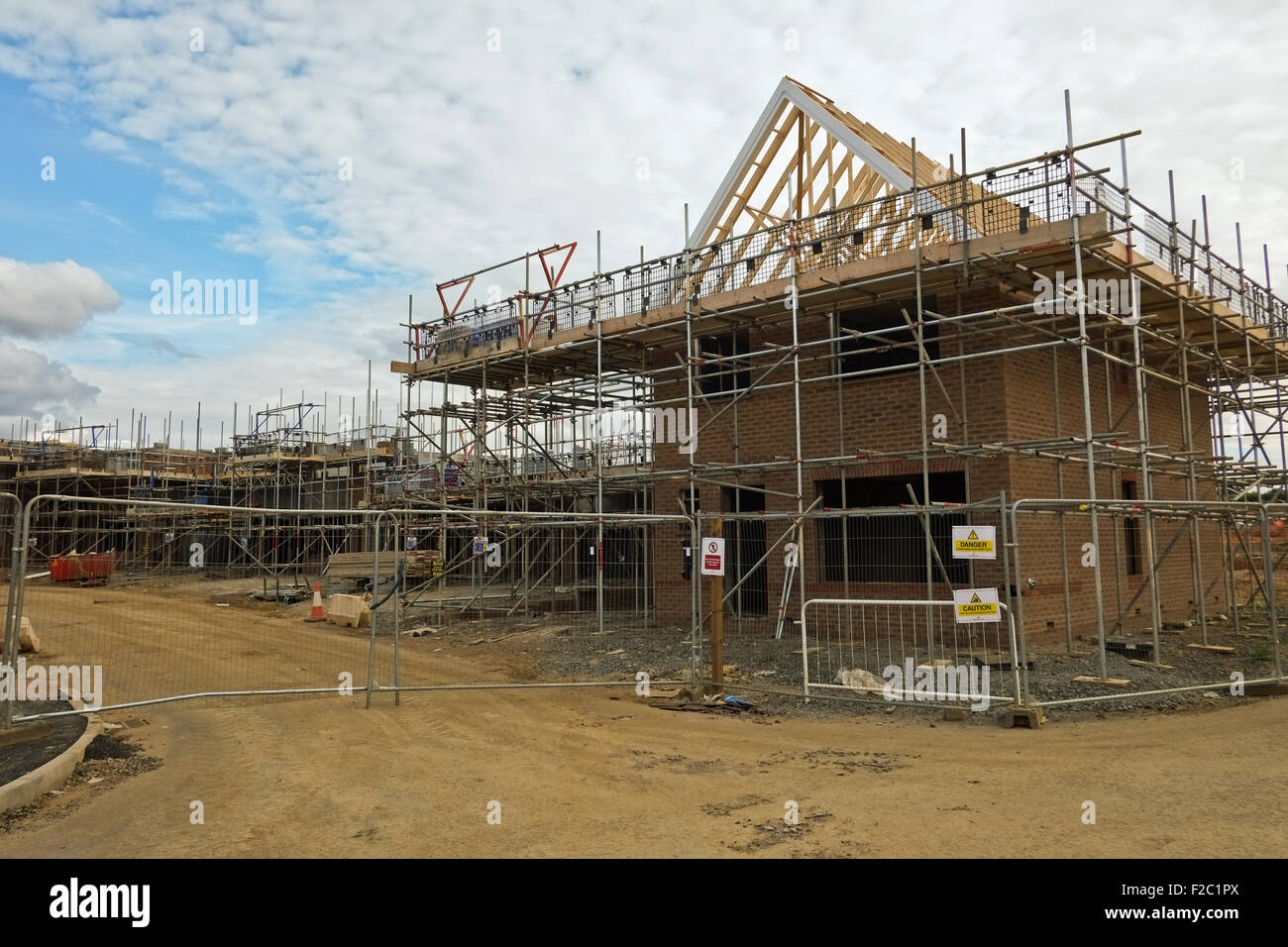 New Build Homes construction site Northamptonshire UK - Stock Image
