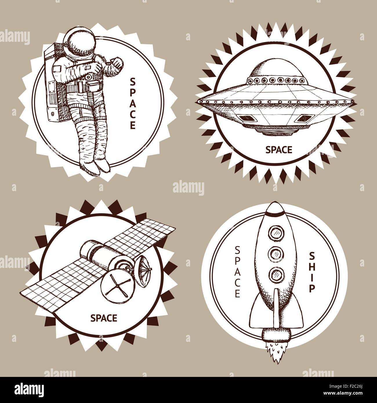 Sketch set of space logotypes in vintage style, vector - Stock Image