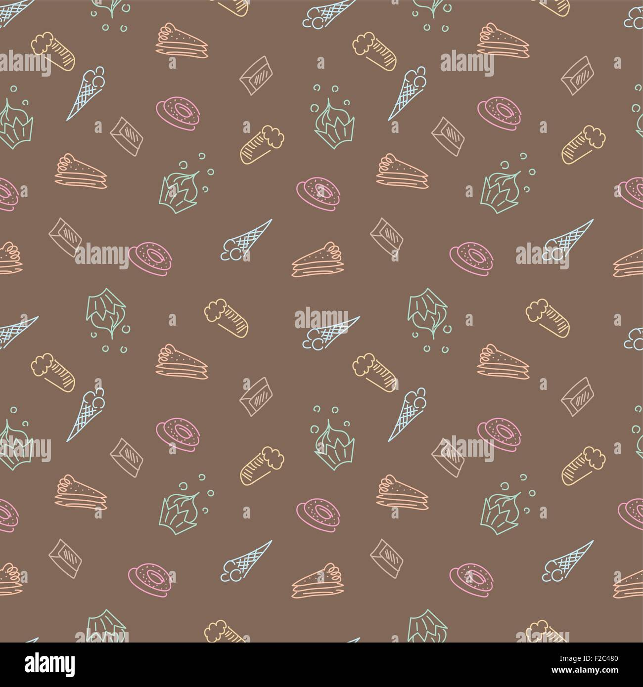 Vector Background With Cakes Sweets Ice Cream For Menu Design