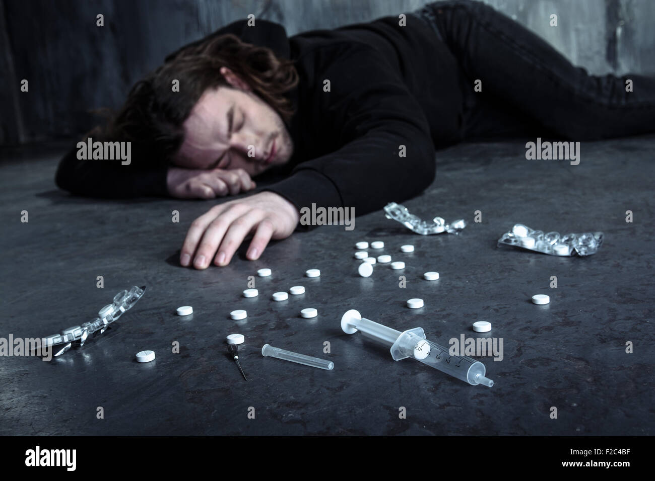 Concept for drug addiction and despair Stock Photo: 87548035