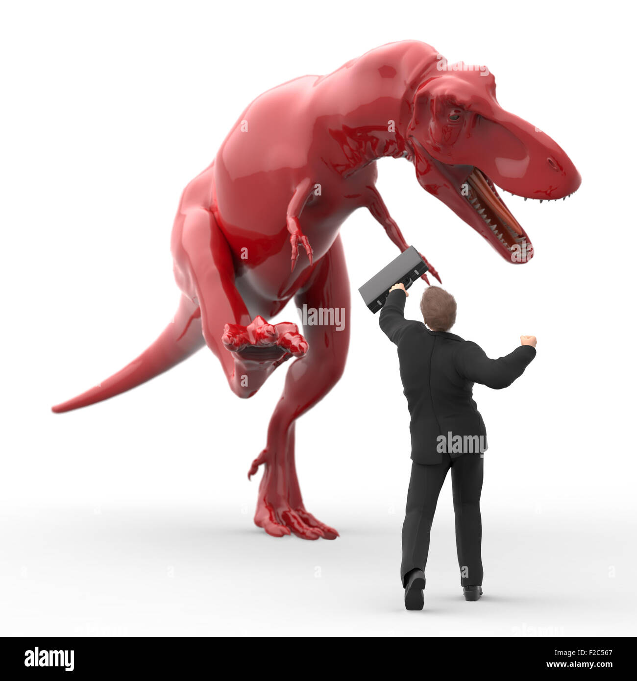 brave businessman fighting against the dinosaur - Stock Image