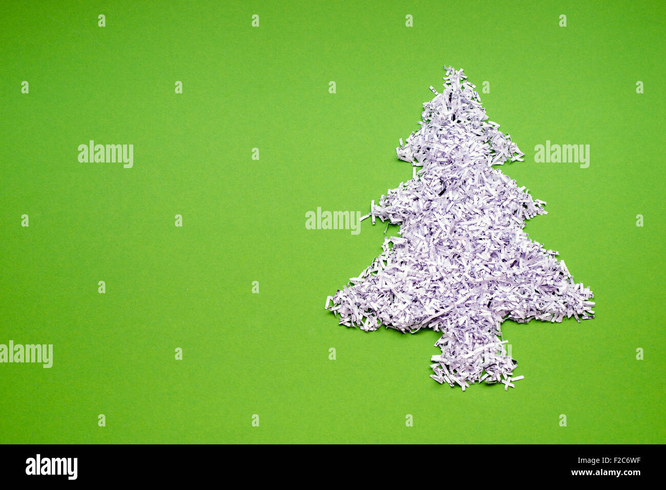 Ecology Recycle Concept With Fir Tree Symbol Made From Shredded