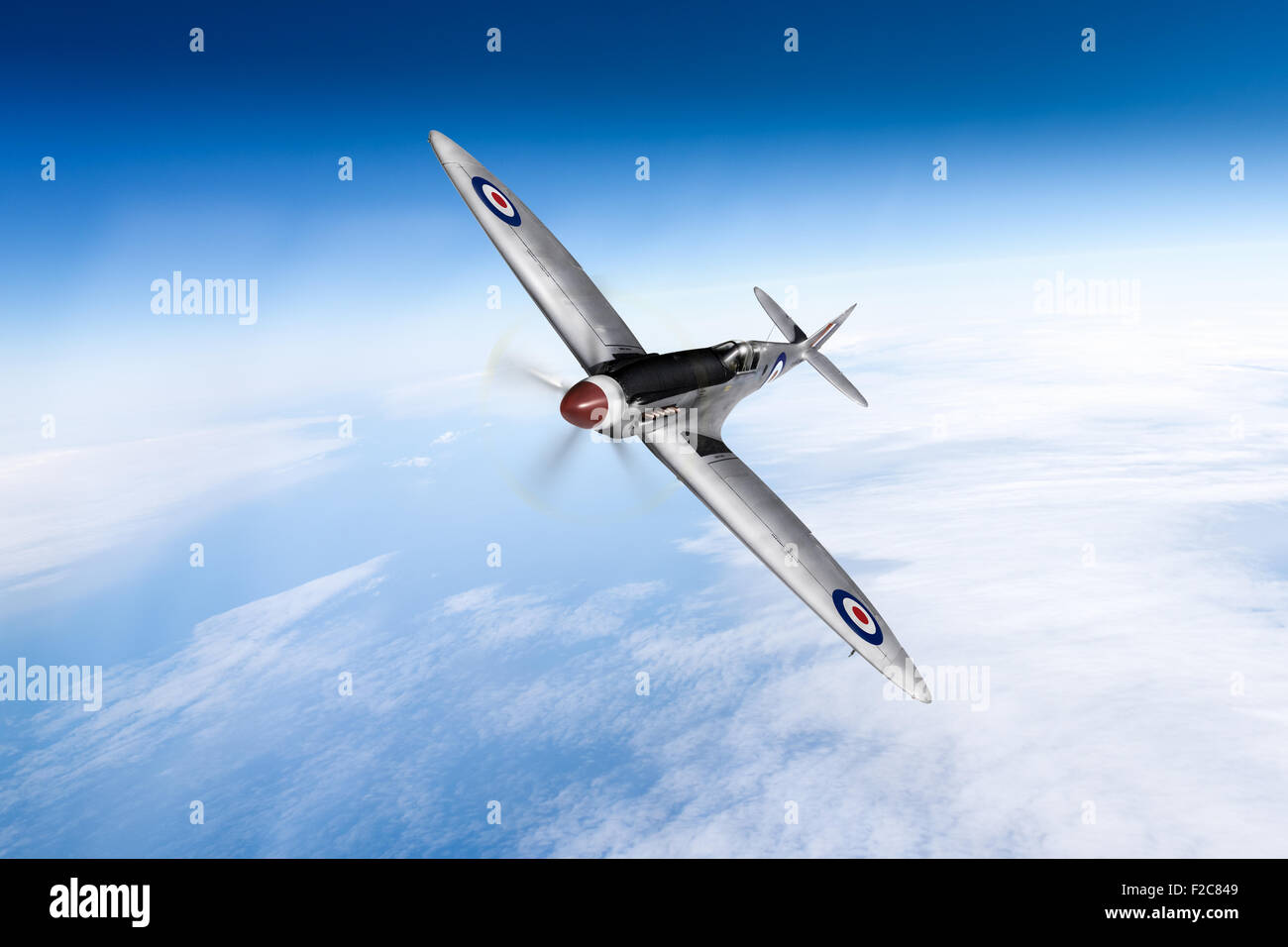 A depiction of RAF photo reconnaissance Spitfire Mk XIX number PS852 of 81 Squadron, based at Kai Tak, Hong Kong,Stock Photo
